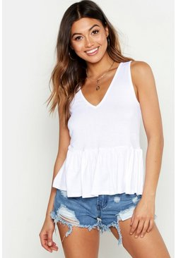 Womens White Sleeveless Smock Top