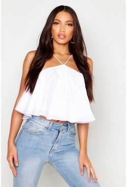 Womens White Woven Strappy Swing Top