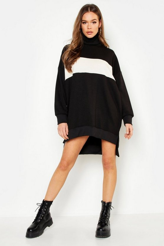 Womens Ecru Roll Neck Oversized Panel Sweat Dress