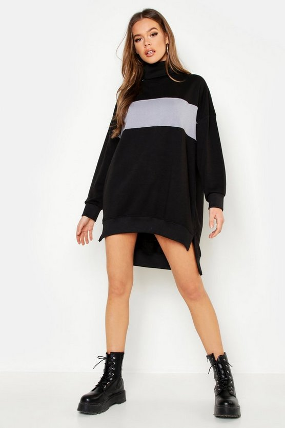Roll Neck Oversized Panel Sweat Dress