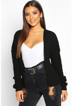 Womens Black Oversized Rib Cropped Cardigan