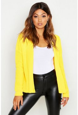 Womens Yellow Oversized Rib Cropped Cardigan