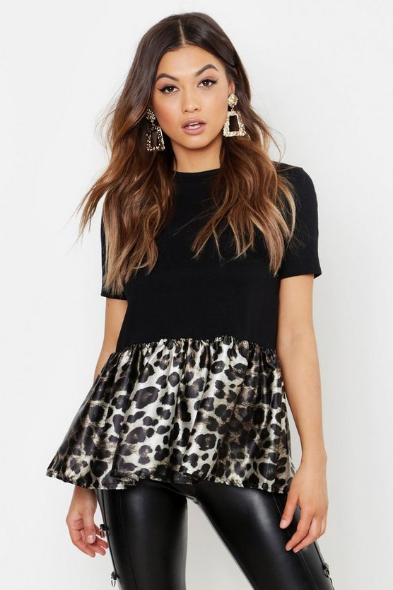 Womens Black Satin Peplum Leopard Print T-Shirt