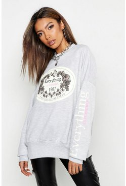 Womens Grey marl Oversized Slogan Sweatshirt