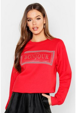 Womens Red Bonjour Slogan Sweat