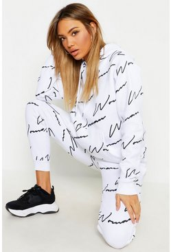 Womens White Woman All Over Print Tracksuit