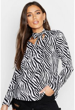 Womens Black Zebra Scarf Tie Neck Blouse