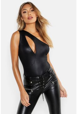 Womens Black PU Cut Out One Shoulder Bodysuit