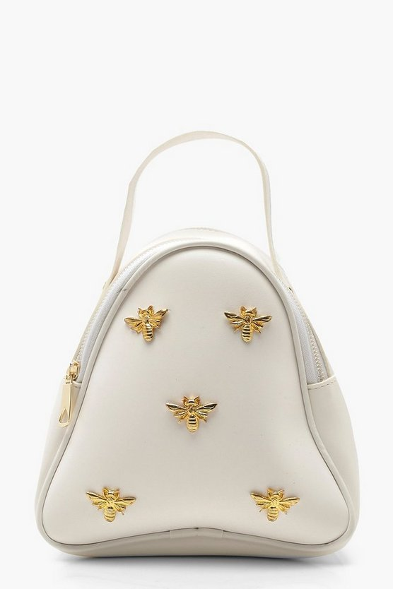 Womens White Metal Bee Mini Rucksack