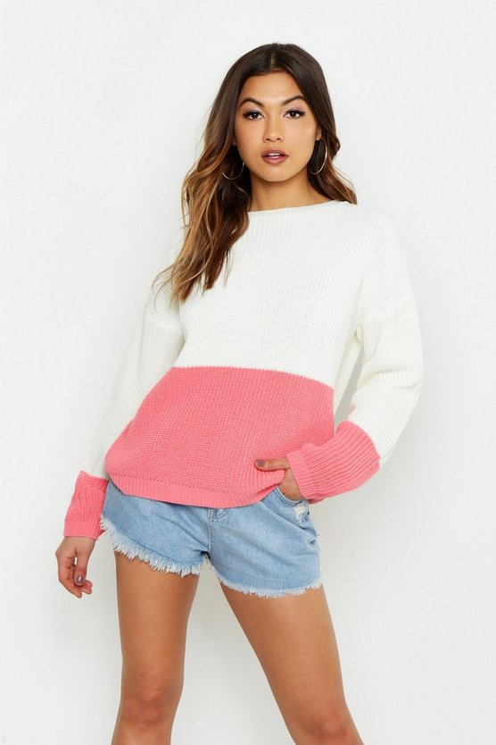 Womens Coral Contrast Panel Colour Block Oversized Jumper