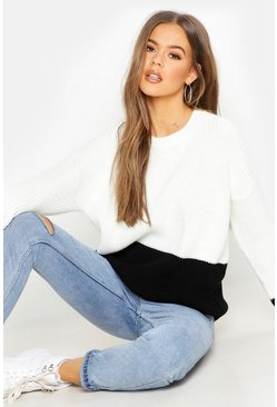 Womens Cream Contrast Panel Colour Block Oversized Jumper