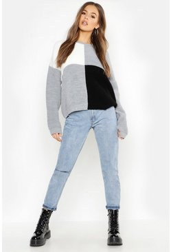 Womens Black Oversized Colour Block Knitted Jumper