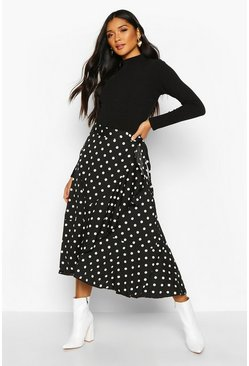Womens Black Polka Dot Ruffle Midi Skirt