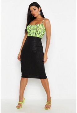 Womens Black Croc Embossed Midi Skirt