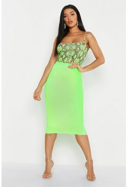 Womens Lime Croc Embossed Midi Skirt