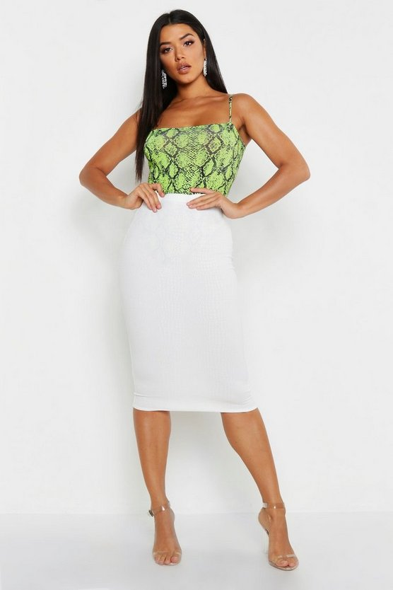 Womens White Croc Embossed Midi Skirt