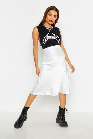 Womens Ivory Satin Bias Cut Slip Midi Skirt