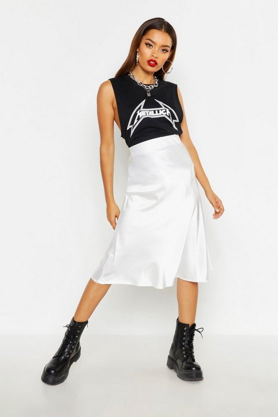 Satin Bias Cut Slip Midi Skirt