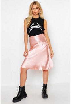 Womens Mauve Satin Bias Cut Slip Midi Skirt