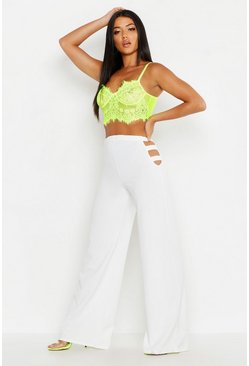 Womens White Cut Out Wide Leg Trouser