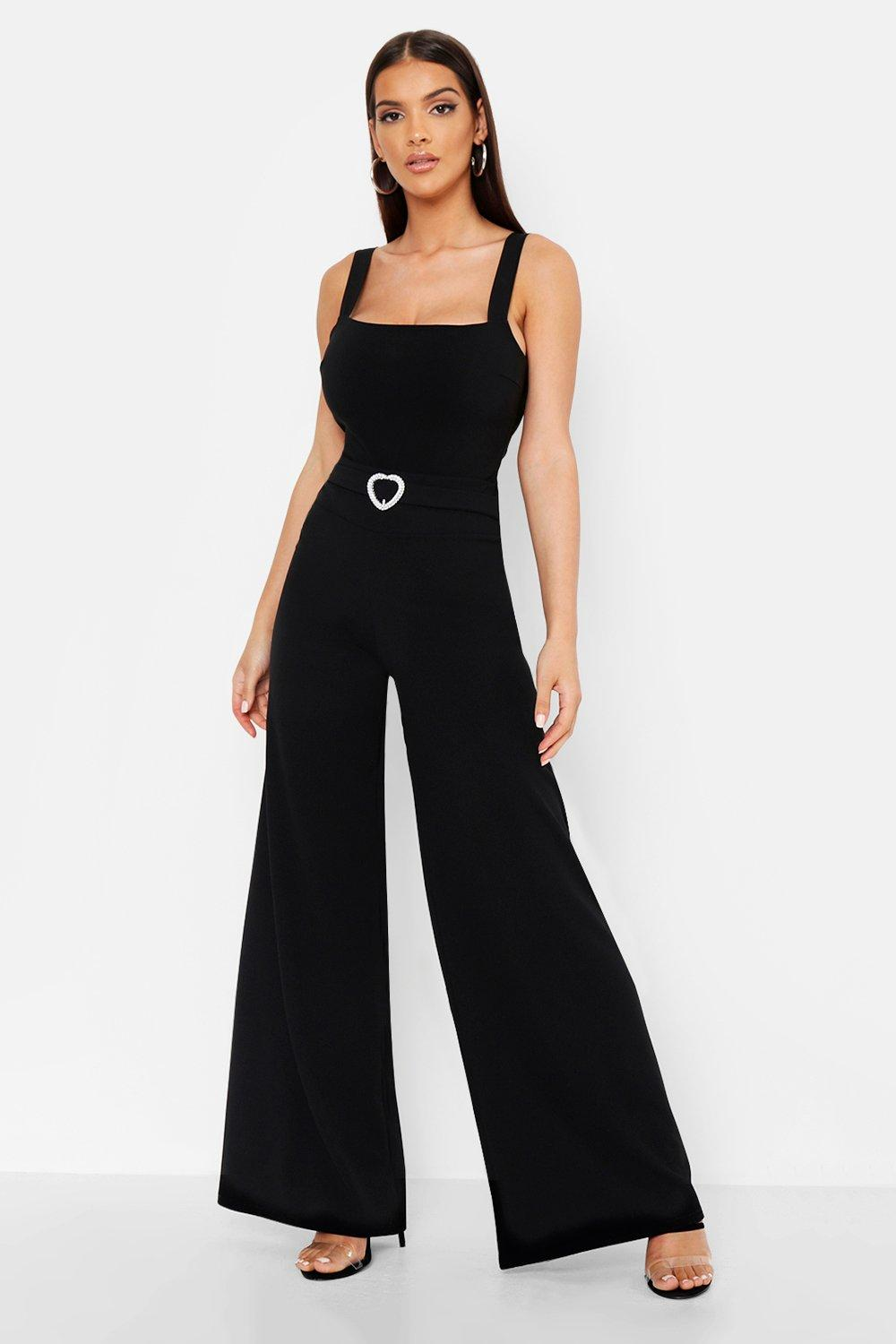 Heart Dimante Buckle Wide Leg Trouser