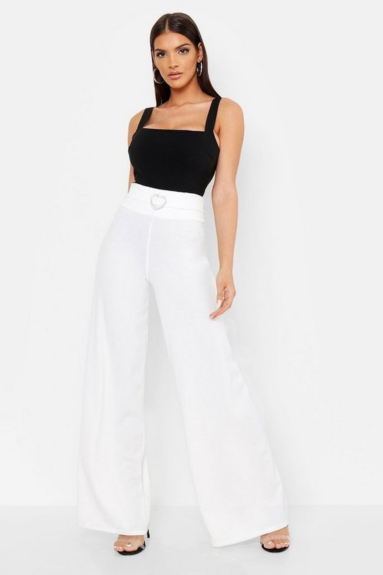 Womens White Heart Dimante Buckle Wide Leg Trouser
