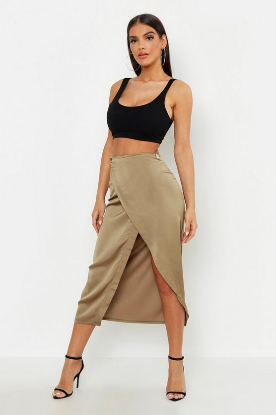 Womens Khaki Satin Wrap Midaxi Skirt