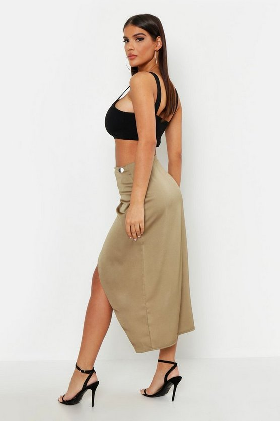 Satin Wrap Midaxi Skirt