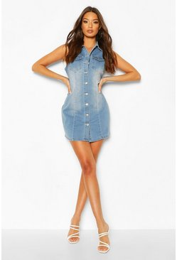 Womens Blue Denim Sleeveless Button Front Dress