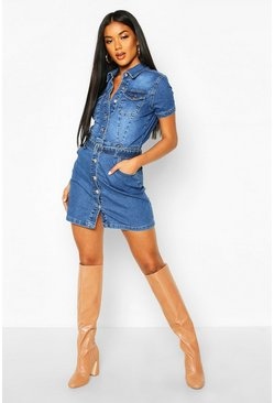 Womens Blue Denim Belted Short Sleeve Dress