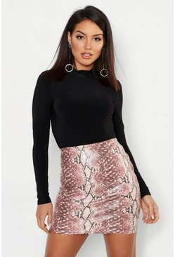 Womens Pink Snake Leather Look Mini Skirt