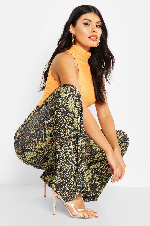 Snake Print Slinky Flare Trouser