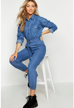 Denim Boilersuit, Mid blue, Donna