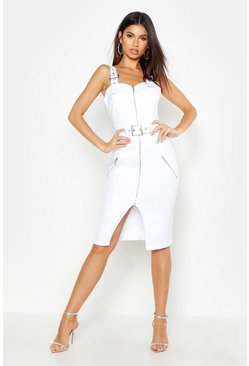 Womens White Denim Zip Through Belted Midi Dress