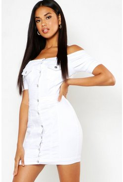 White Denim Bardot Button Up Bodycon
