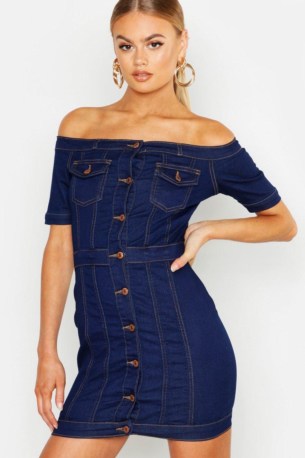 f37ff9d043a1 Schulterfreies Bodycon-Kleid aus Denim mit Knopfleiste