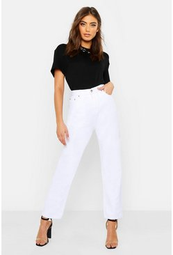 White High Rise Straight Leg Jeans