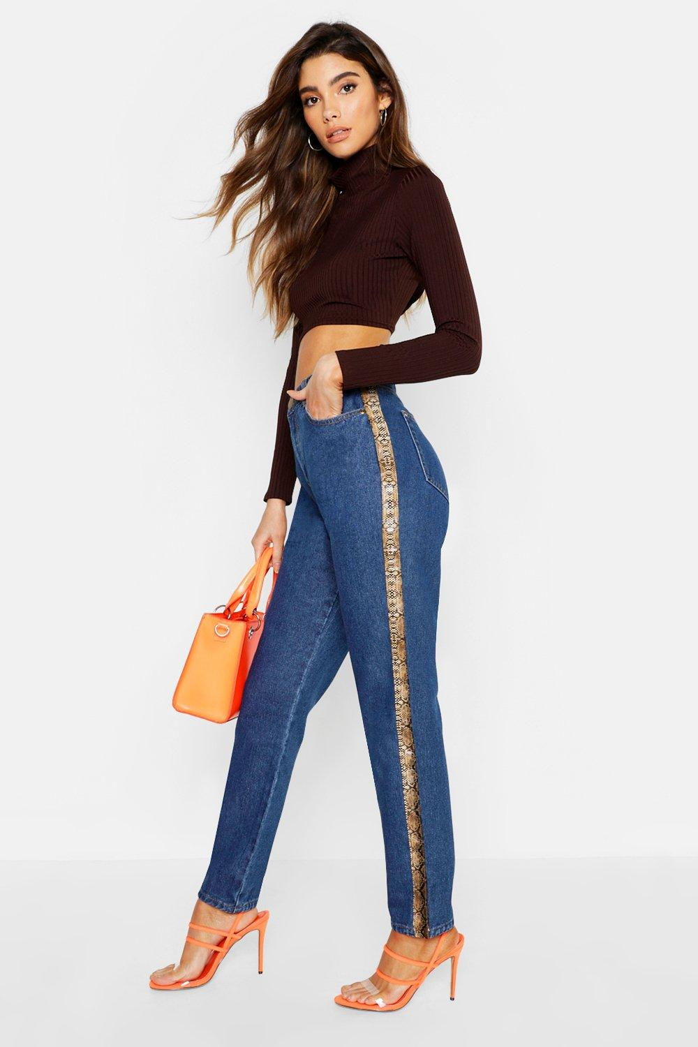 Vinyl Snake Print Side Stripe Mom Jeans