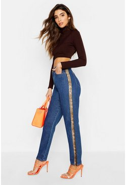 Womens Blue Vinyl Snake Print Side Stripe Mom Jeans