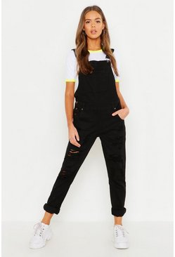 Womens Black Distressed Leg Dungaree