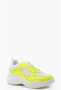 Neon Panel Chunky Trainers, Yellow, Donna