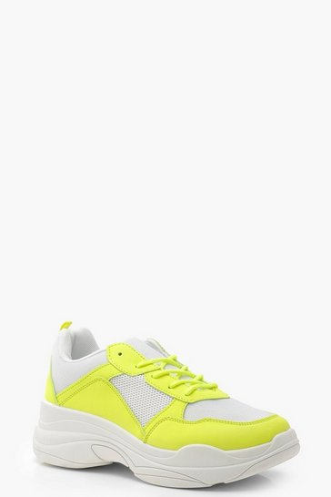 Womens Yellow Neon Panel Chunky Trainers