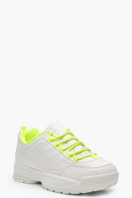 Womens Yellow Neon Chunky Sole Sneakers