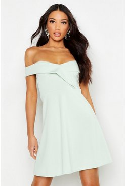 Mint Bardot Sweetheart Neck Skater Dress