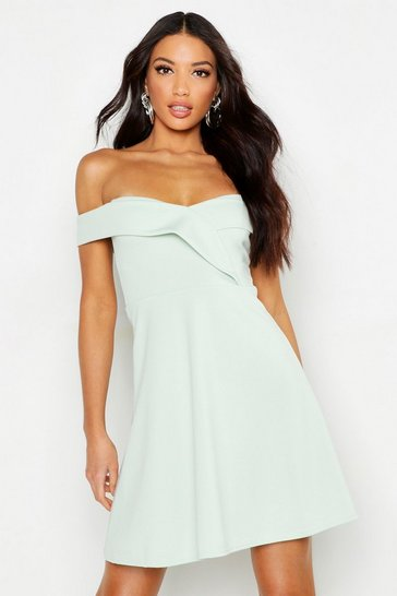 Womens Mint Bardot Sweetheart Neck Skater Dress