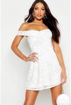 Womens White Lace Bardot Sweetheart Neck Skater Dress