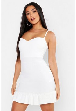 White Frill Hem Sweetheart Neck Mini Dress