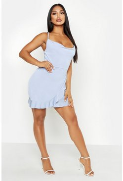 Womens Dusty blue Cowl Neck Ruffle Bodycon Mini Dress
