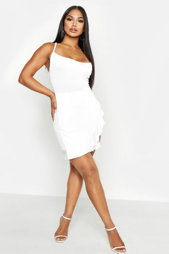 White Cowl Neck Ruffle Bodycon Mini Dress