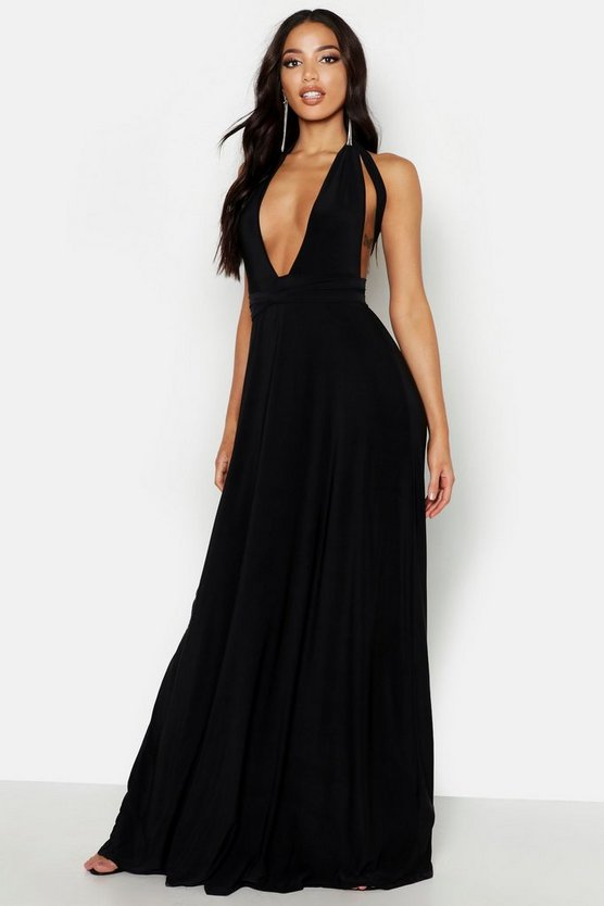 Womens Black Soft Touch Multiway Maxi Dress
